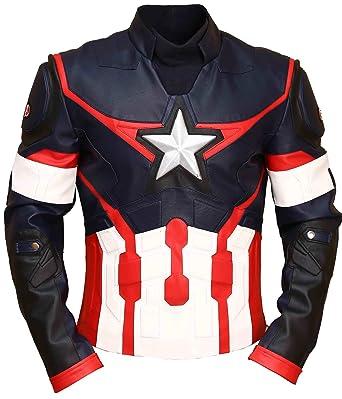 in vera pelle Classyak giacca da uomo in stile capitan America alla moda