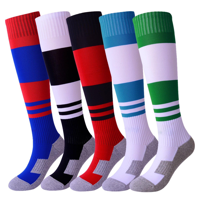 Boys Soccer Socks 5 Pack Knee High Comfortable Football Socks for Kids/Youth Stripe by KALAKIDS