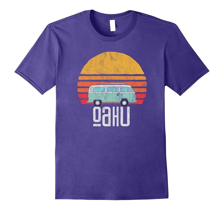 Retro Oahu Hawaii Hippie Van Beach Bum Surfer T-Shirt-T-Shirt