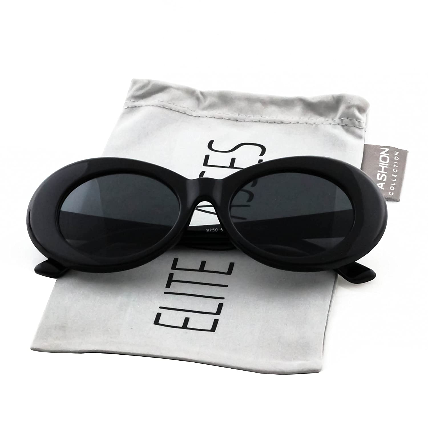 b44060c63d5 Amazon.com  Clout Goggles Oval Mod Retro Thick Frame Rapper Hypebeast  Eyewear Supreme Glasses Cool Sunglasses (American Flag