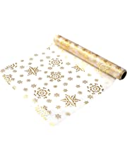 khevga 9 meter x 0.36 Table Runner Christmas Table Runners in Gold Silver snowflakes and stars