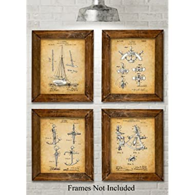 Original Sailing Patent Art Prints - Set of Four Photos (8x10) Unframed - Great Gift for Sailors, Boat Owners or Beach House Decor