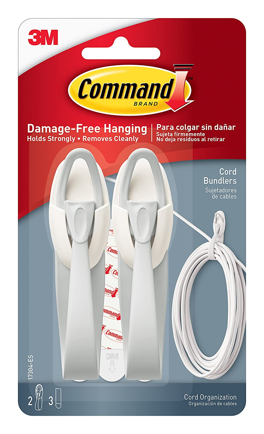 Command 17304 Medium Cord Bundlers With Strips White 2 Bundlers and 3 Strips