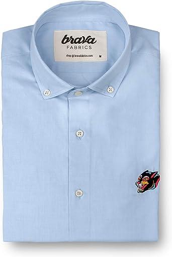 Brava Fabrics | Camisa Hombre Manga Larga Estampada | Camisa Azul para Hombre | Camisa Casual Regular Fit | 100% Algodón | Modelo Tattoo Panther Essential | Talla: Amazon.es: Ropa y accesorios