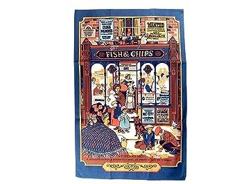 Toalla de té/pared colgar - pescado y CHIPS, detalles en Londres muy famoso eatery, coleccionable Souvenir: Amazon.es: Hogar