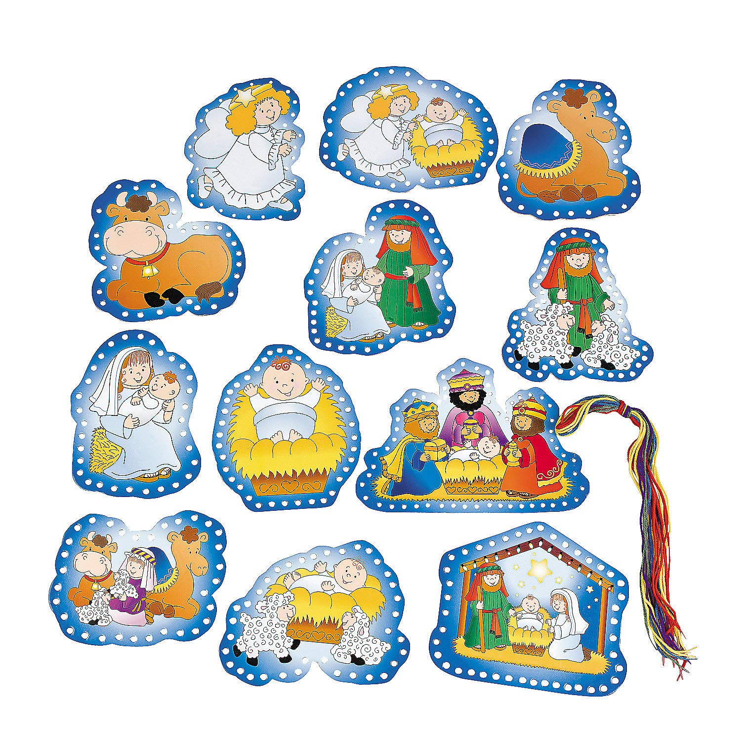 Fun Express - Nativity Lacing Cards for Christmas - Educational - Learning Aids - Manipulatives - Christmas - 24 Pieces by Fun Express