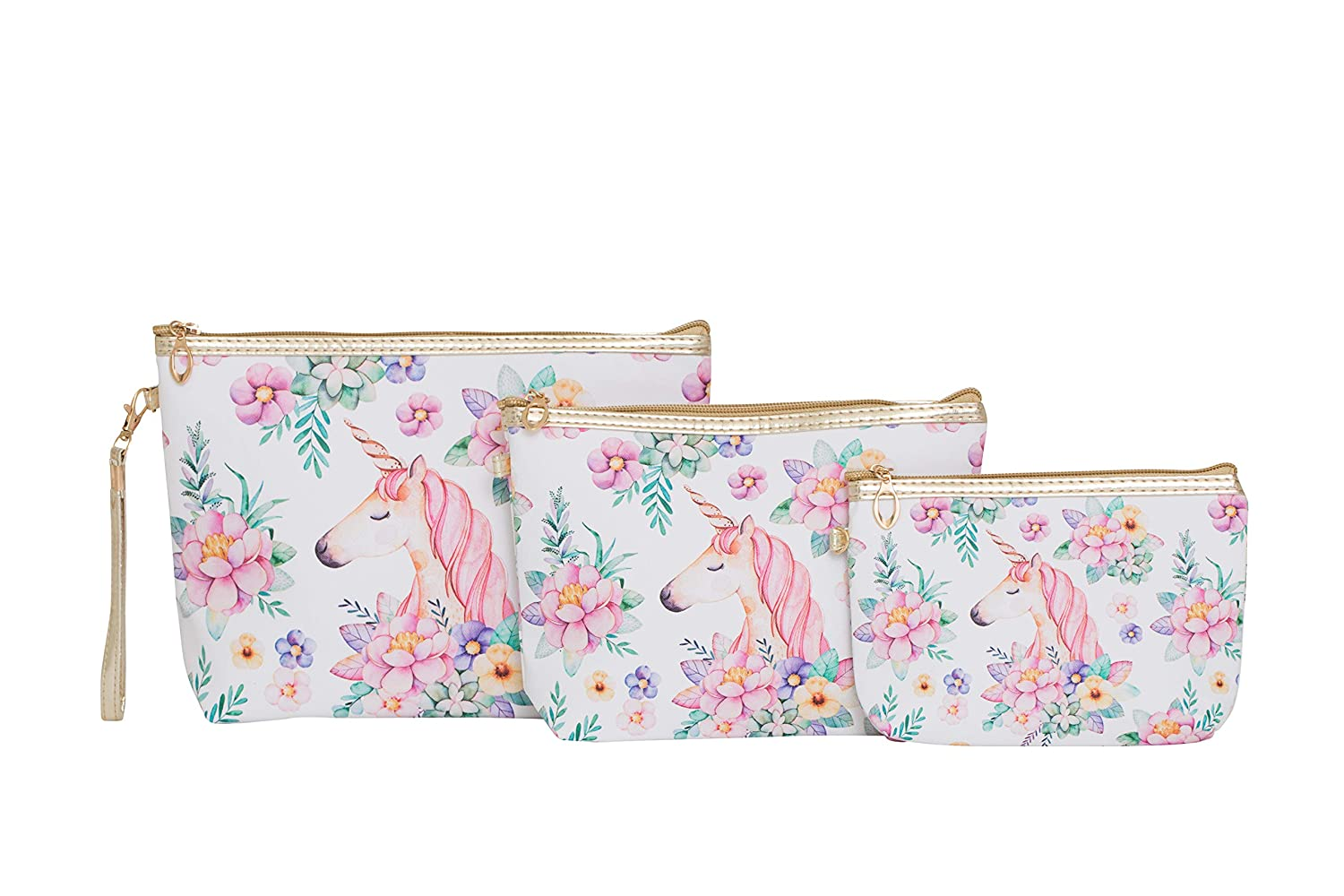 Pink Unicorn Makeup Bag Travel Set of 3 With Zippers. Great Cosmetic Case Organizer for Handbag, Purse, Luggage or Backpack.