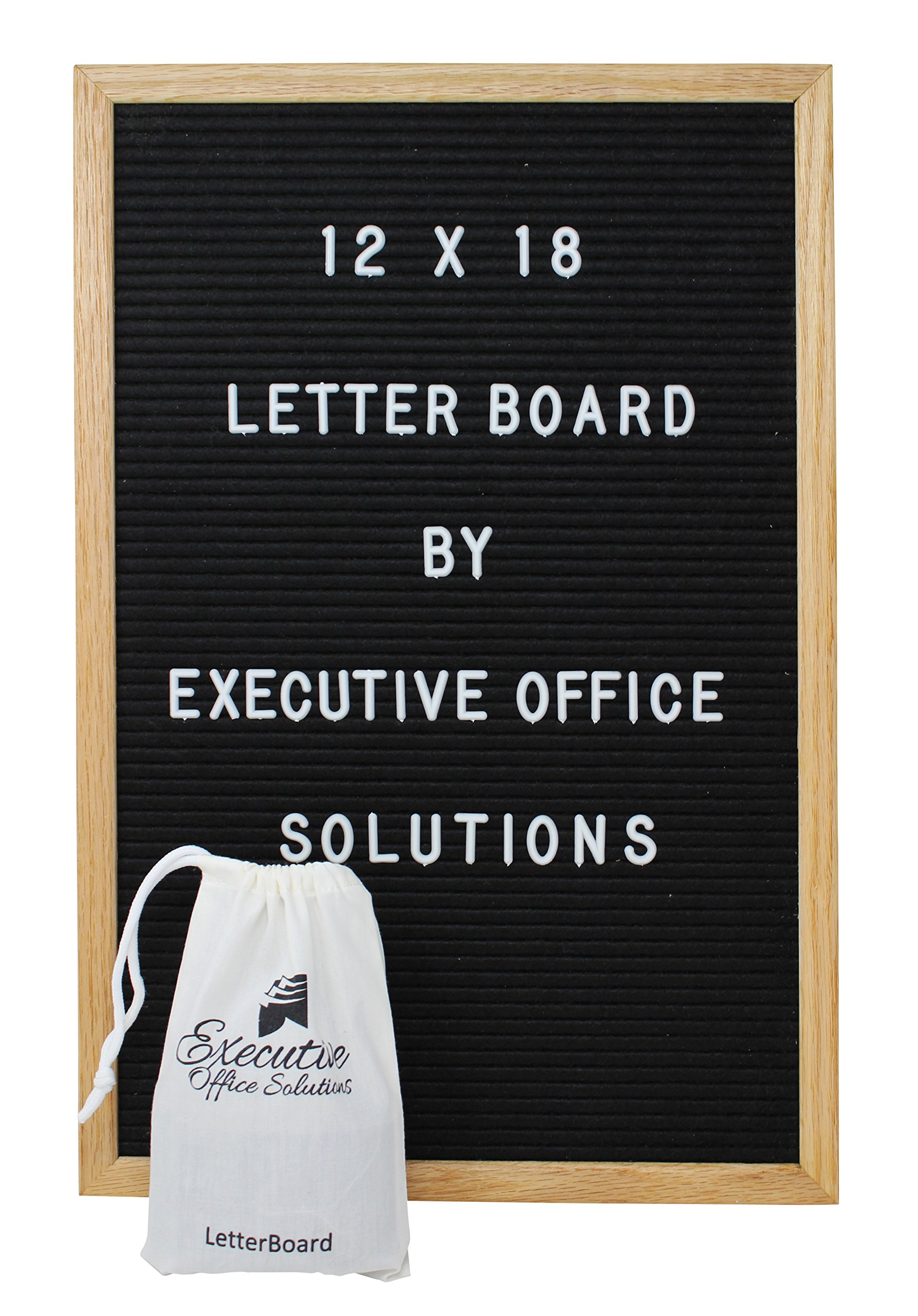 12 X 18 Changeable Letter Board - Black Felt with Solid Oak Frame, Wall Mount, Canvas Bag, and 290 Characters - by Executive Office Solutions