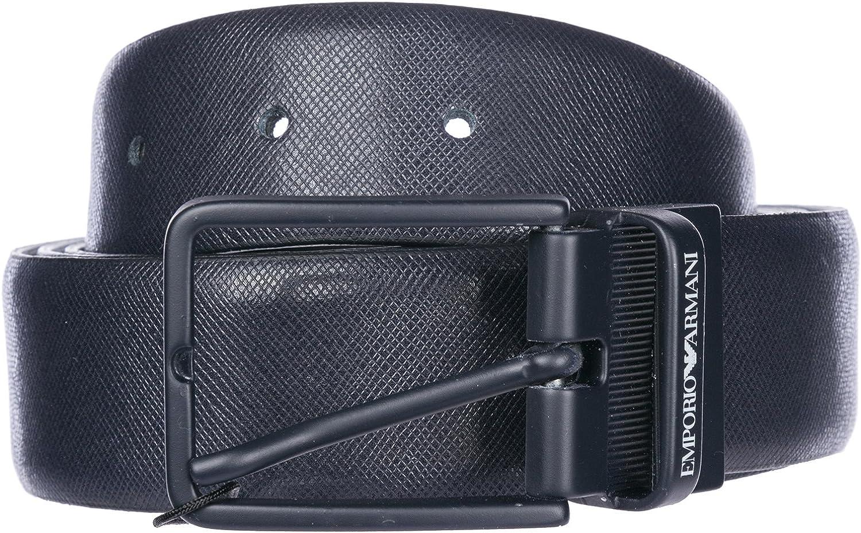 Emporio Armani cinturón en piel de hombre ajustable reversible nuevo blu