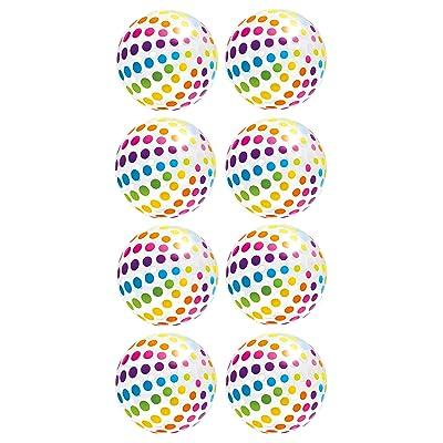 Intex Jumbo Inflatable Big Panel Colorful Polka Dot Giant Beach Balls (Set of 8): Toys & Games