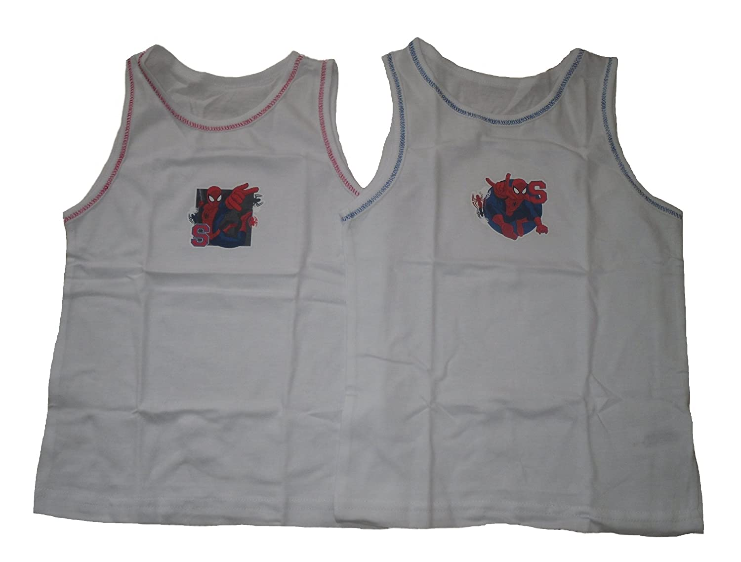 BOYS 2 PACK VEST TOPS SPIDERMAN
