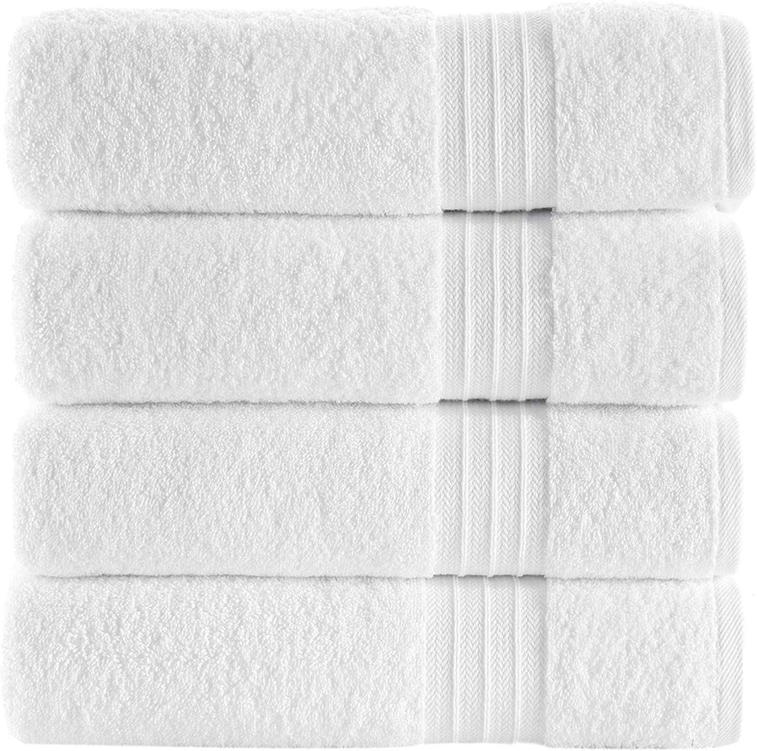 Qute Home 4-Piece Bath Towels Set, Bosporus Collection 100% Turkish Cotton Premium Quality Towels for Bathroom, Quick Dry Soft and Absorbent Turkish Towel, Set Includes 4 Bath Towels (White)