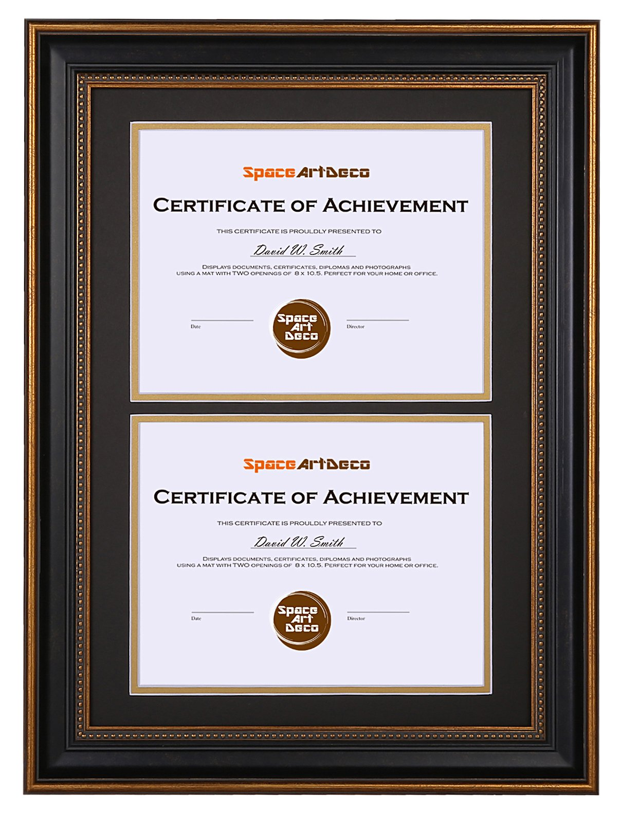 Space Art Deco 14x20 Ornate Gold Black Design Double Certificate Frame - Black Over Gold Double Mat - for Two 8.5x11-Inch Certificates and Diplomas- Sawtooth Hangers - Wall Mount - Glass (Ornate) by Space Art Deco