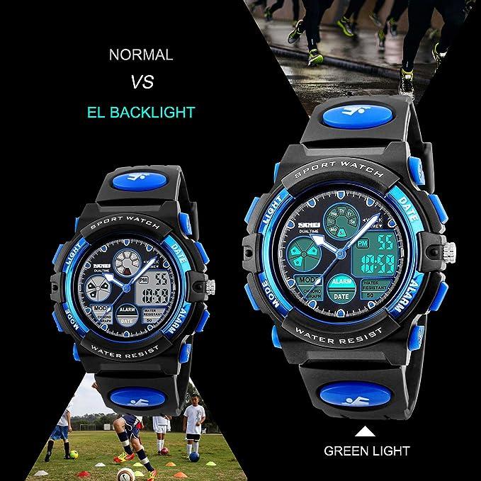 Amazon Com Kids Sports Digital Watch Boys Girls Outdoor Waterproof Watches Childrenog Quartz Wrist Watch With Alarm Blue Watches