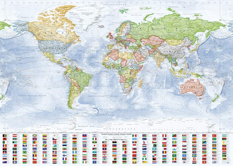 J.Bauer Karten Mapa del Mundo político, 140x100 cm, en Inglés ...