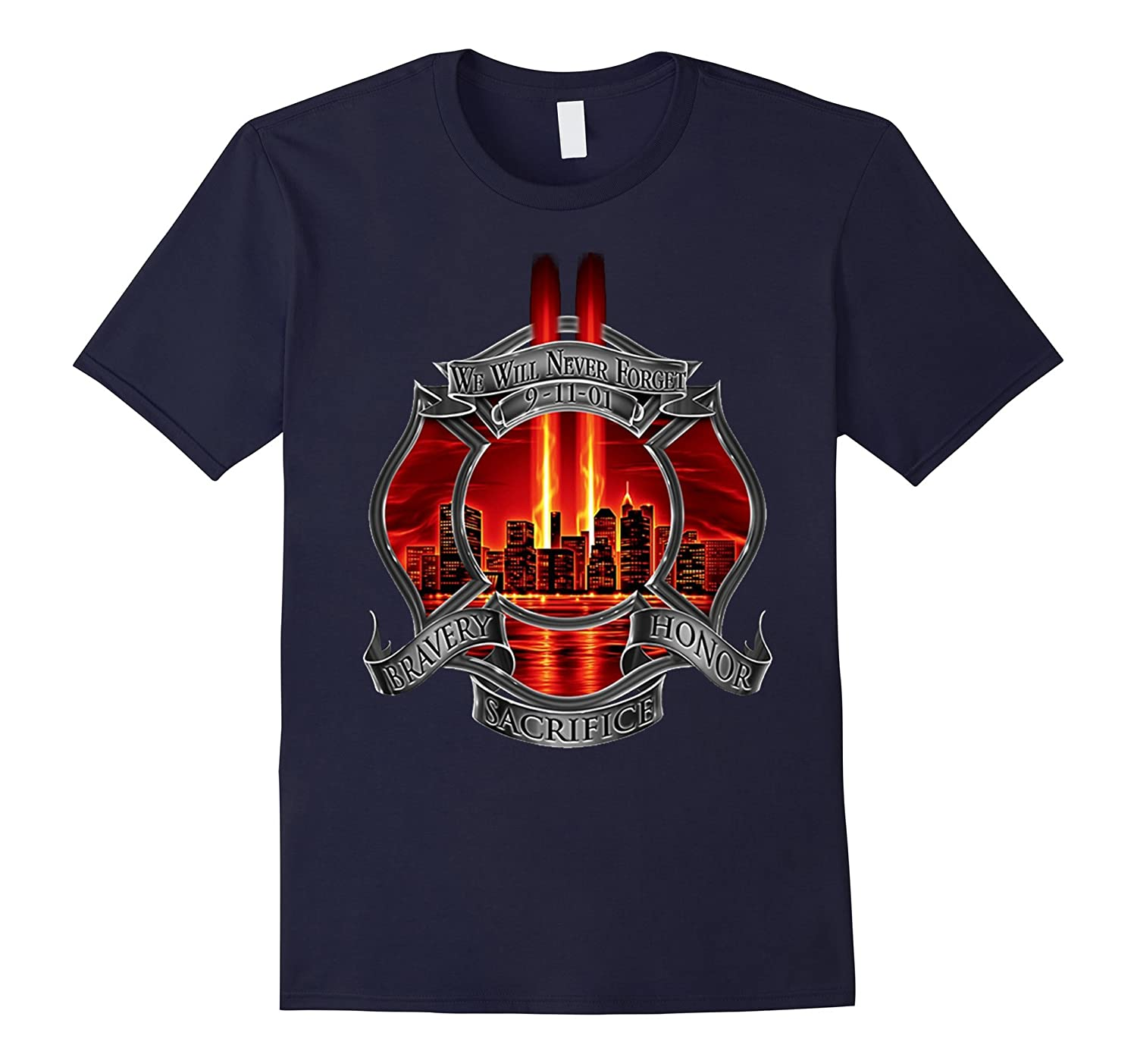 911 Memorial Never Forget Patriot Day T-Shirt Firefighter-TJ