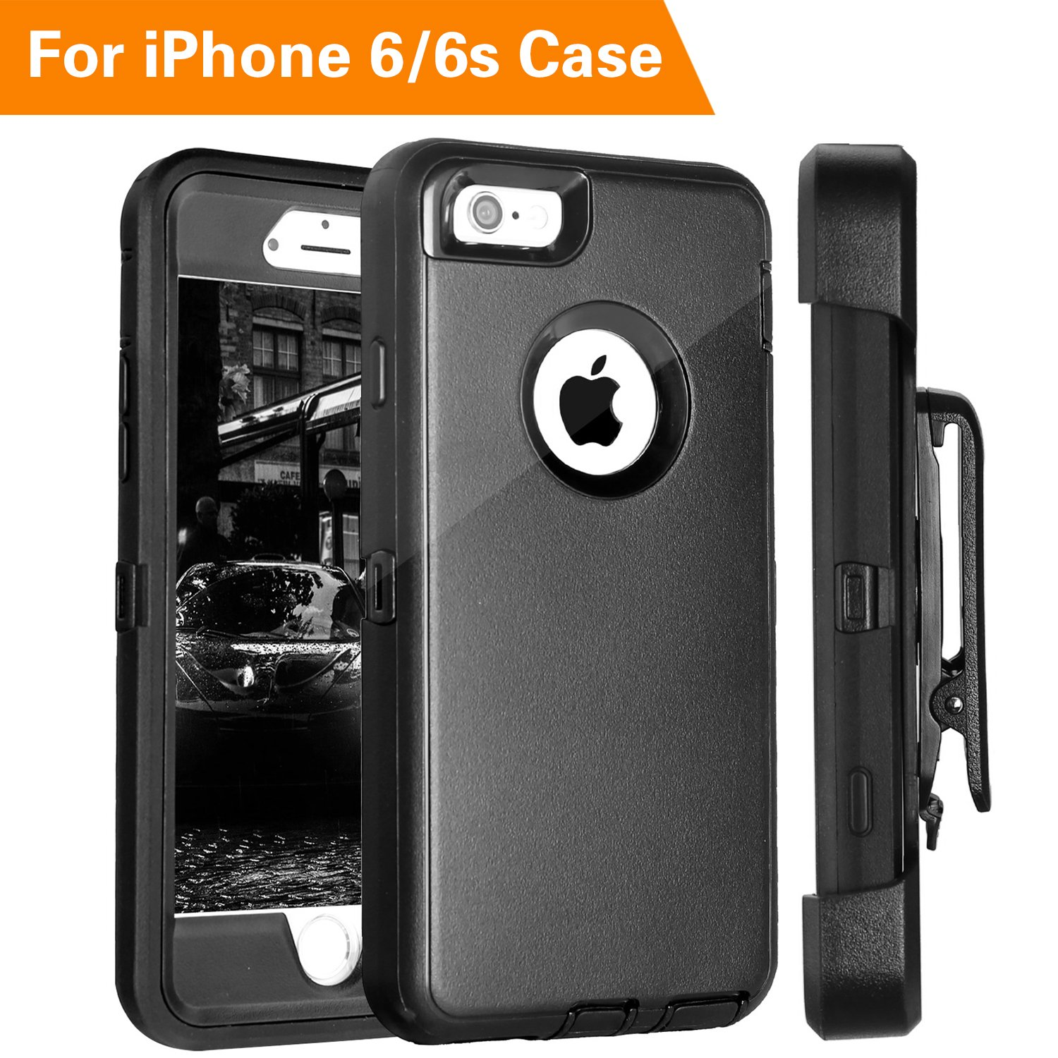FOGEEK iPhone 6 Case, Heavy Duty PC + TPU Combo Protective Defender Case for iPhone 6/6S w/360 Degree Rotary Belt Clip & Kickstand (Black)