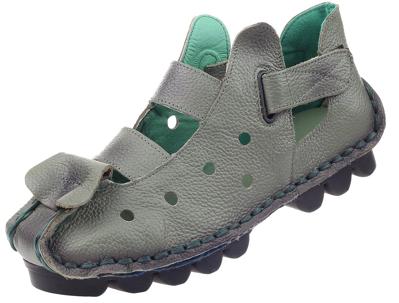 Vogstyle Femme cuir des faits à la main la des Vert chaussures plates à brides velcro Vert Style-2 07b8bcc - latesttechnology.space