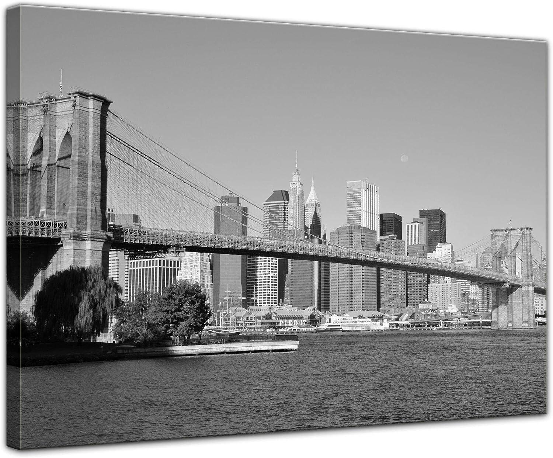 Bilderdepot24 Cuadros en Lienzo New York Puente - USA - 40 x 30 cm - Listo tensa, Directamente Desde el Fabricante