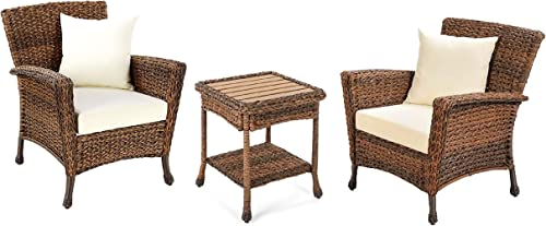 W Unlimited Outdoor Faux Sea Grass Garden Patio 3-PC Furniture Set, Brown