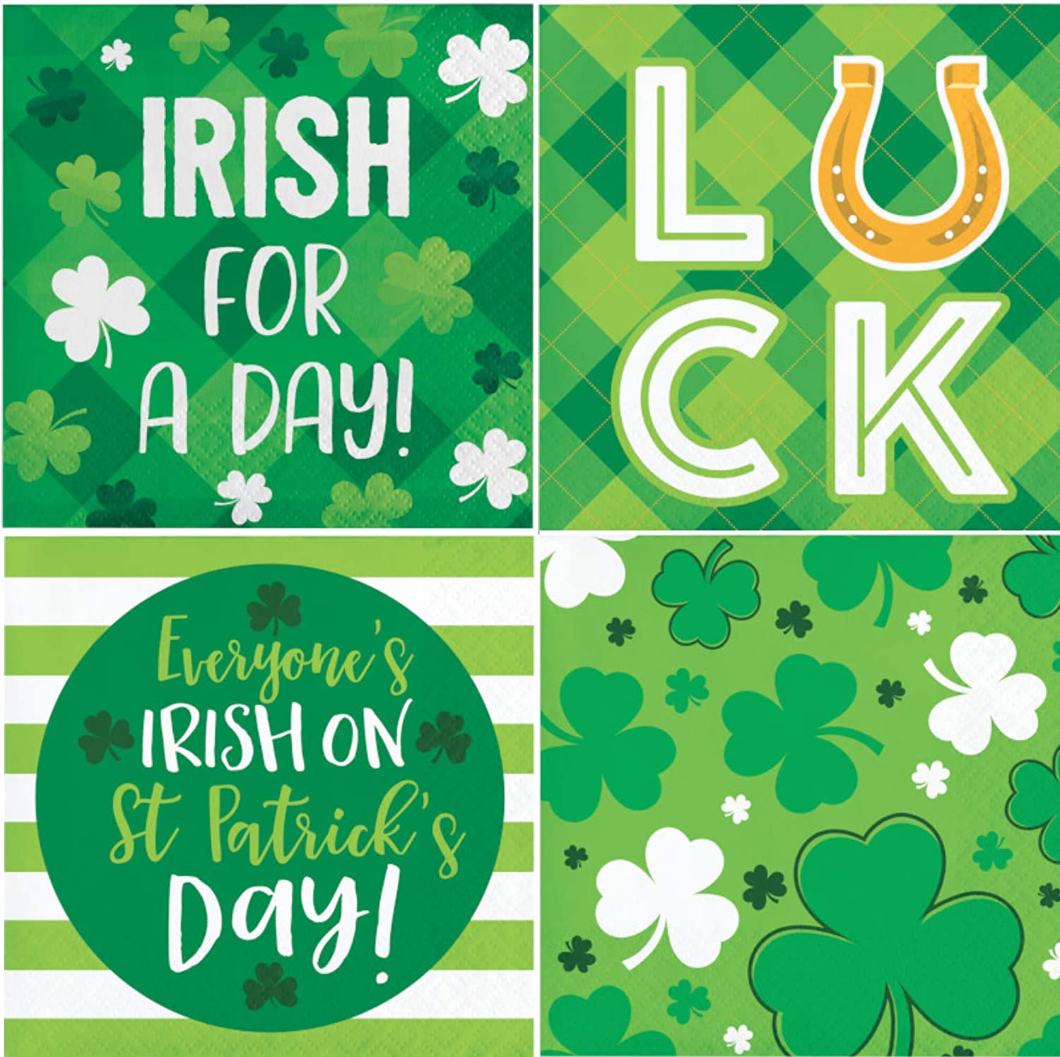 Funny St. Patricks Day Themed Cocktail Beverage Napkins   Fun Variety Pack   Bundle Includes 64 Total Paper Napkins in 4 Designs