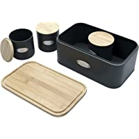 Sherwood Housewares Bread Box and 3 Piece Tea Sugar Coffee Canister Set with Natural Bamboo Lids Cutting Board and Matte Black Finish