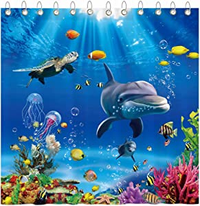 Funnytree Summer Blue Ocean Underwater Shower Curtain Set with Hooks Dolphin Turtle Fish Sea Bath House Bathroom Bathtubs Decor Easy Care Waterproof Washable Durable Polyester Fabric 72
