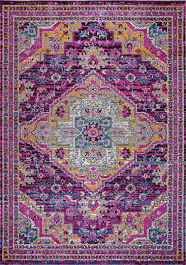 Ladole Rugs Durable Traditional Vintage Indoor Outdoor Area Rug Living Room Bedroom Entrance Hallway Carpet in Purple Pink 8×11 7 10 x 10 5 240cm x 320cm 5×7 8×10 9×12 2×10 4×6 feet