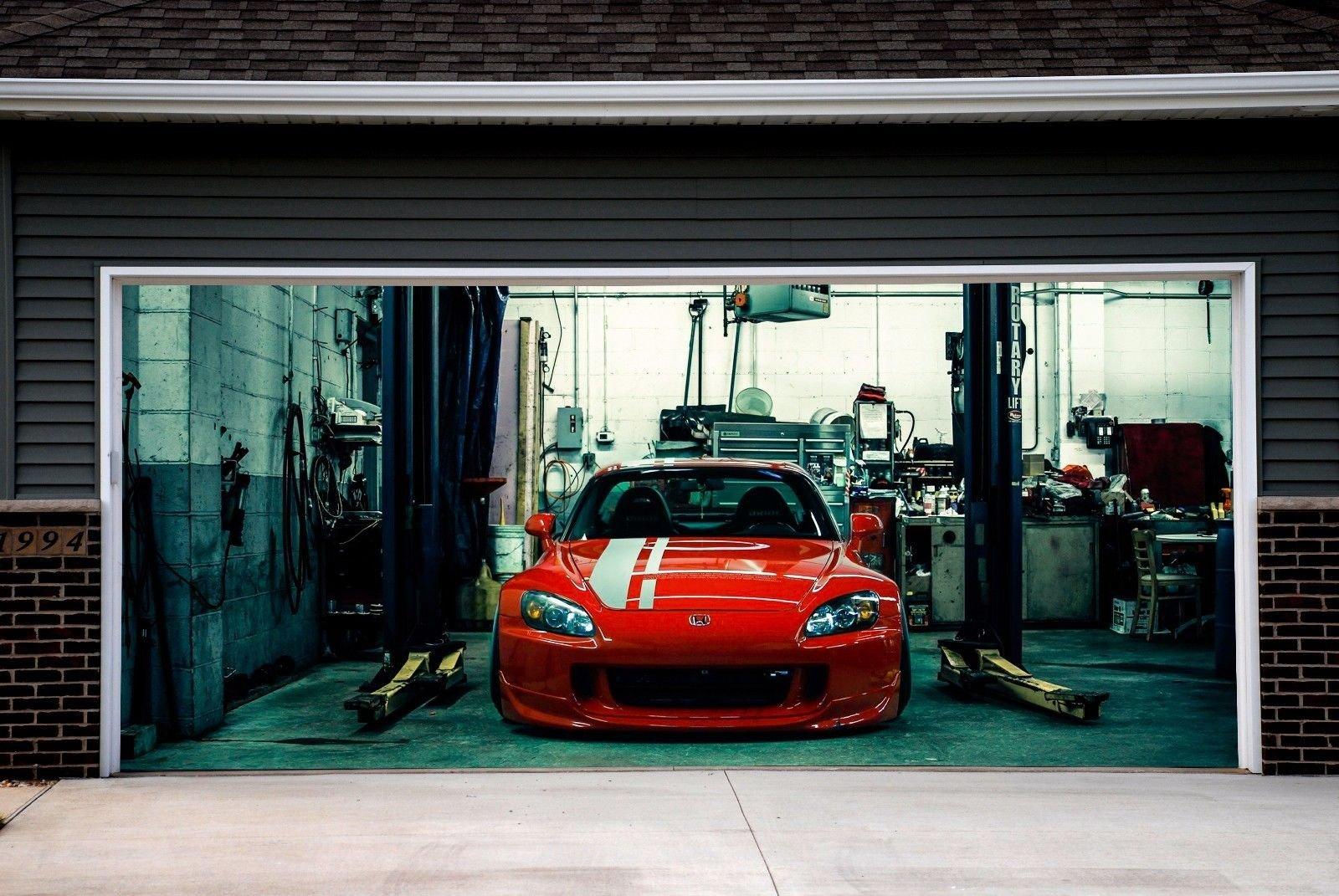 Sport Car Cover for Garage Door 3D Print Effect Murals Outdoor Banner for 2 Garage Door Decor size 82x188 Dav104