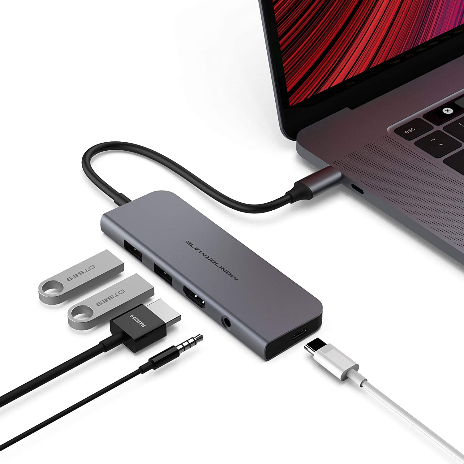 MONITORMATE C51 Gen2 SuperSpeed+ USB-C 10Gbps Adapter | HDMI 4K@60hz | 2 x USB-A Data Gen2 | 100W PD3.0 | 3.5mm Audio Jack(Compatible with MacBook Pro/iPad Pro)