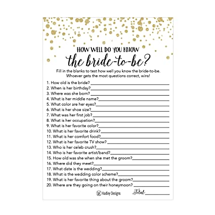 25 black and gold how well do you know the bride bridal wedding shower or bachelorette