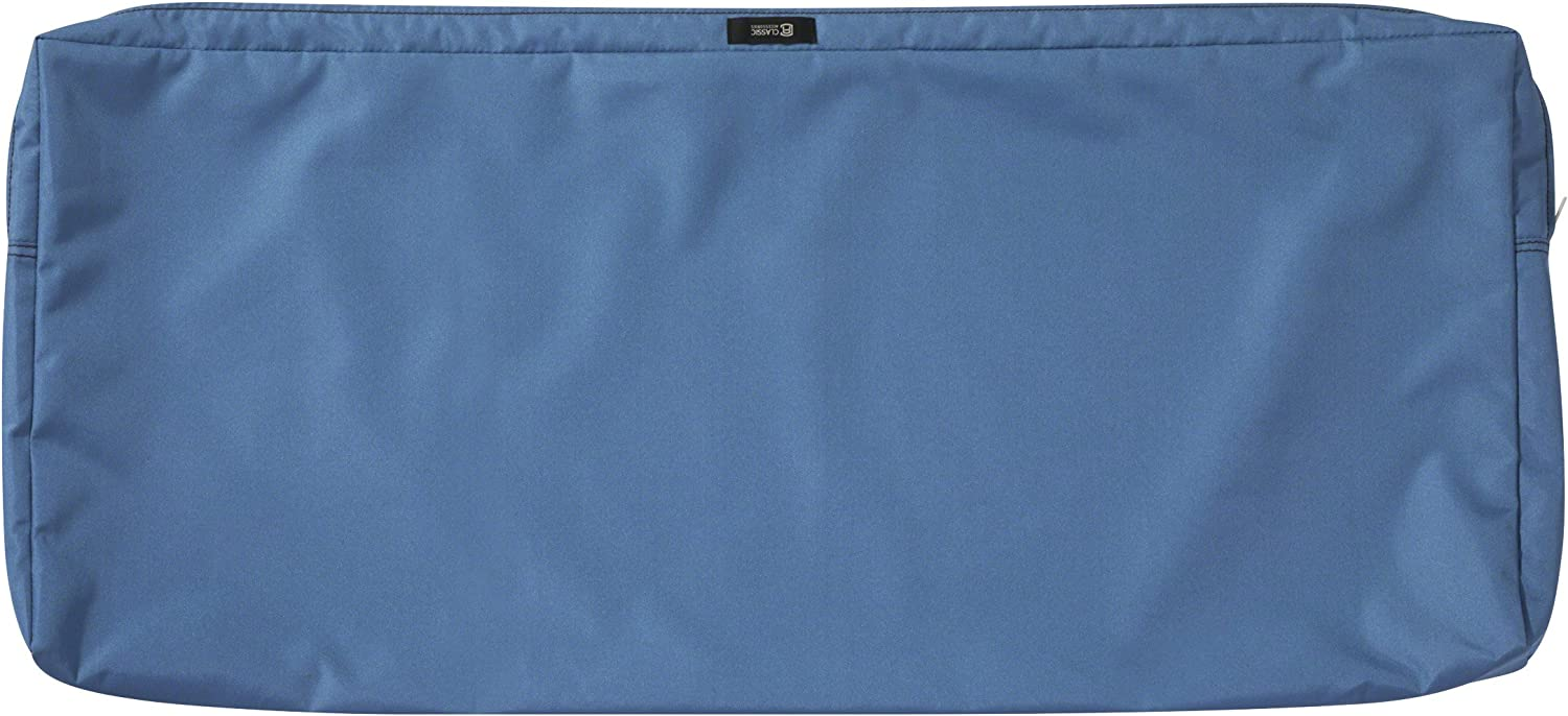 Classic Accessories Ravenna Water-Resistant 48 x 18 x 3 Inch Outdoor Bench/Settee Cushion Slip Cover, Patio Furniture Swing Cushion Cover, Empire Blue