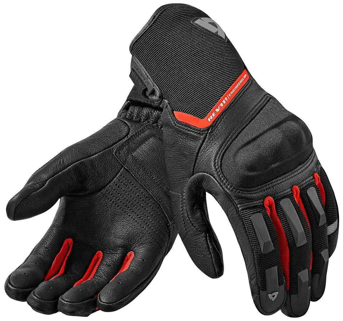 Guantes de piel para motocicleta gris y rojo REVIT Striker blanco color negro