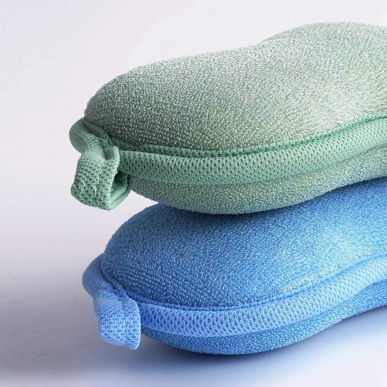 WOVELOT Babamate Natural Bamboo Baby Bath Sponge-2 Pack-Ultra Esponja Suave Y Absorbente Para La Piel Sensible Del Beb/é Hipoalerg/énico-Verde Azul Biodegradable
