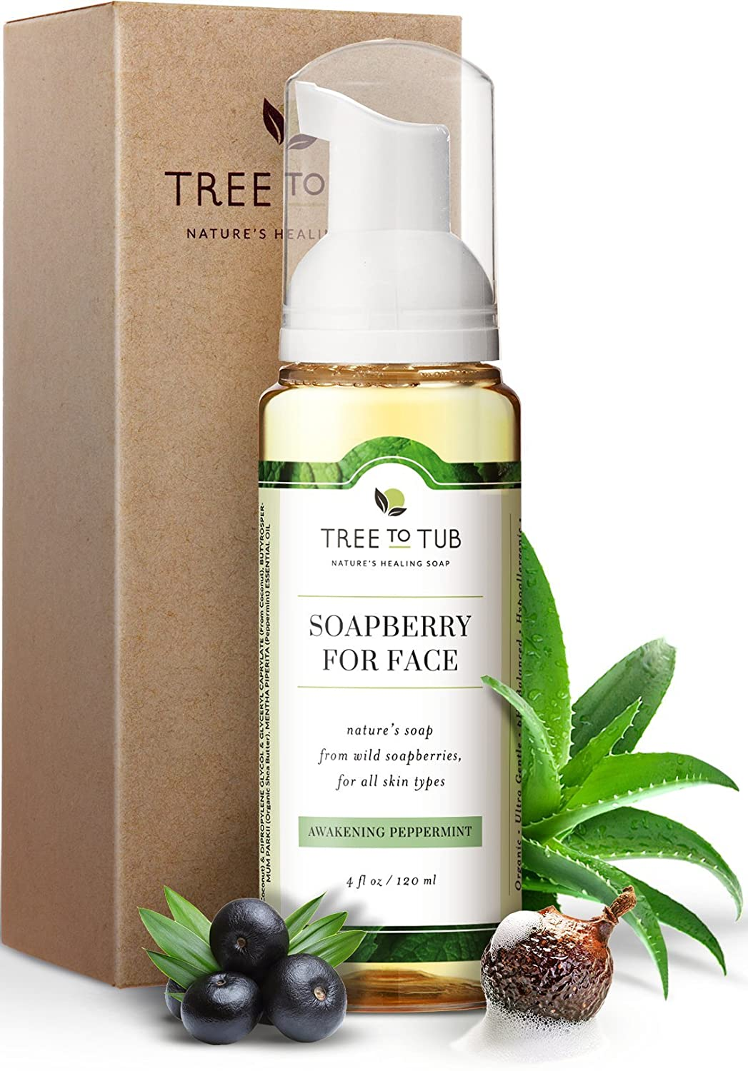 Real, Acne Face Wash for Oily Skin. The Only pH 5.5 Balanced Peppermint Foaming Cleanser for Sensitive Skin – Women and Mens Face Wash Made with Organic Wild Soapberries, 4 oz—by Tree To Tub 4 oz—by Tree To Tub FP
