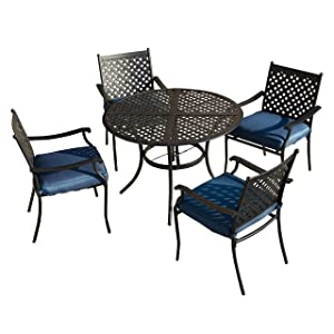 LOKATSE HOME 5 Piece Outdoor Patio Metal Dining Set with 4 Iron Arm Chairs with Seat Cushions and 1 Table with Umbrella Hole, Blue
