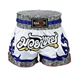 Maxx Muay Thai Boxing Shorts, Kick Boxing, mma shorts whit/blu/grey (small)