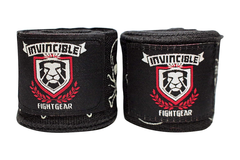 Invincible Fight Gear 大人用 180インチ メキシカンスタイル セミゴム ハンドラップ ボクシング キックボクシング ムエタイ 総合格闘技 クラス、ジム、ホームワークアウト メンズ、レディース、大人用 (1ペア) ブラック プリント スカル B07GFRZLKP