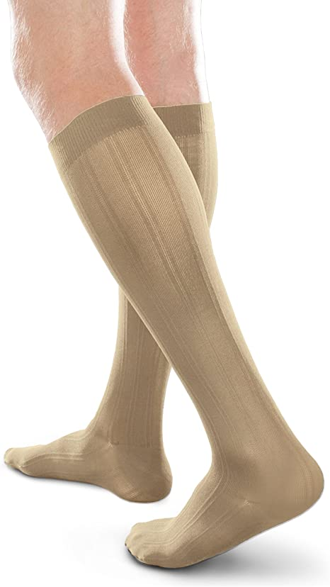 Khaki, Medium Long 15-20mmHg Compression Ease Opaque Mens Trouser Socks with Mild