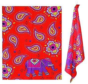 2 Paños Kashmir elefante rojo - Aprox. 50 x 70 cm Cocina paños en look Oriental: Amazon.es: Hogar