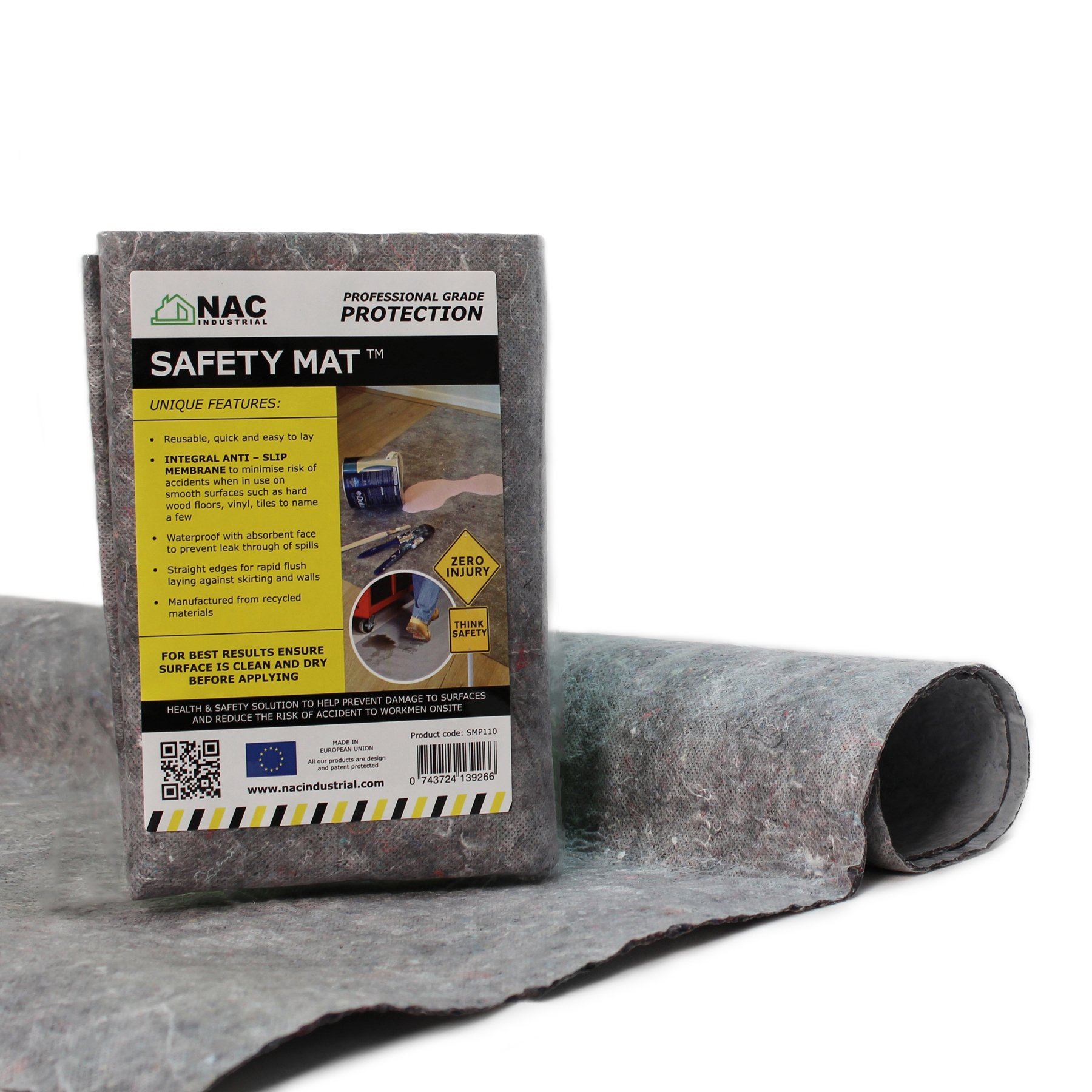 NAC INDUSTRIAL Waterproof Anti-Slip DROP CLOTH – Professional Surface Protection SAFETY MAT (40'' x 40'')