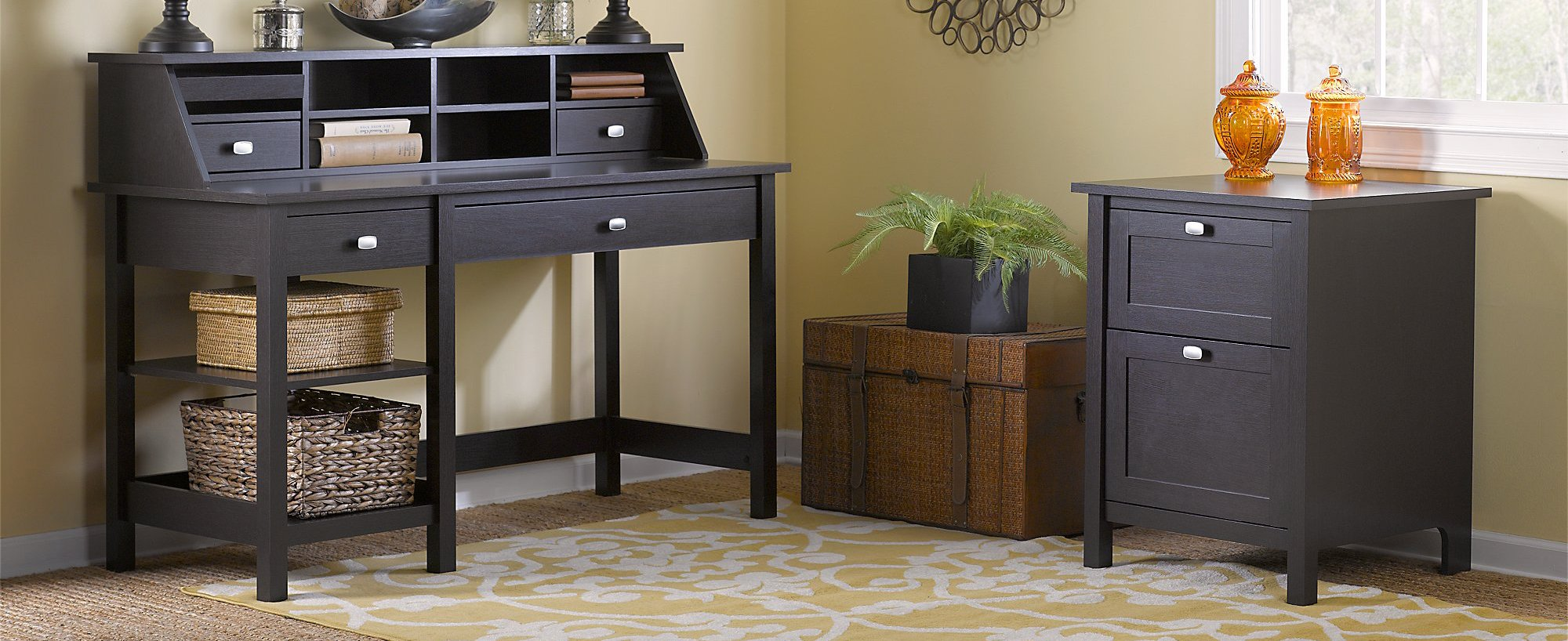 Broadview Computer Desk with Open Storage, Organizer and File Cabinet