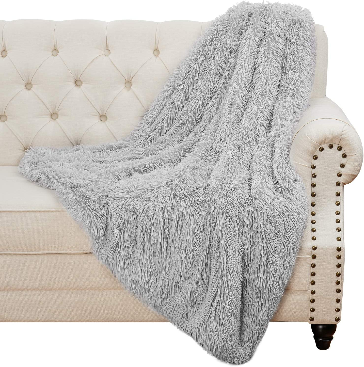Homore Soft Fluffy Blanket Fuzzy Sherpa Plush Cozy Faux Fur Throw Blankets for Bed Couch Sofa Chair Decorative, 50''x60'' Light Grey: Kitchen & Dining