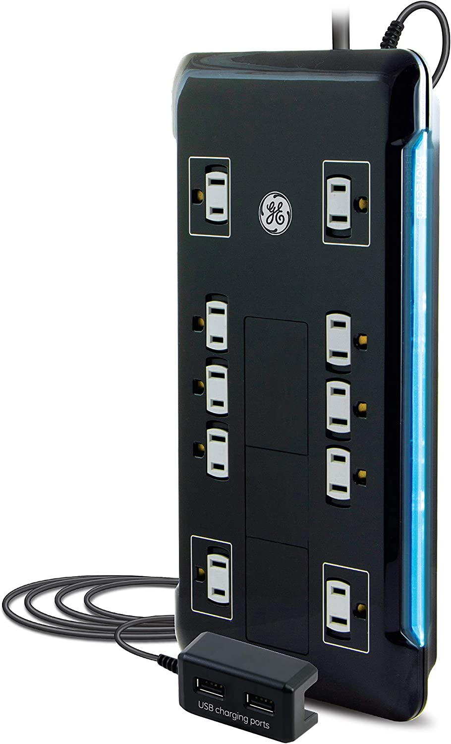 GE Surge Protector, 10 Outlet Power Strip, 2 USB Ports, Long 4ft Power Cord, Flat Plug, Power Filter, Circuit Breaker, 2880 Joules, Warranty, Black, 32646