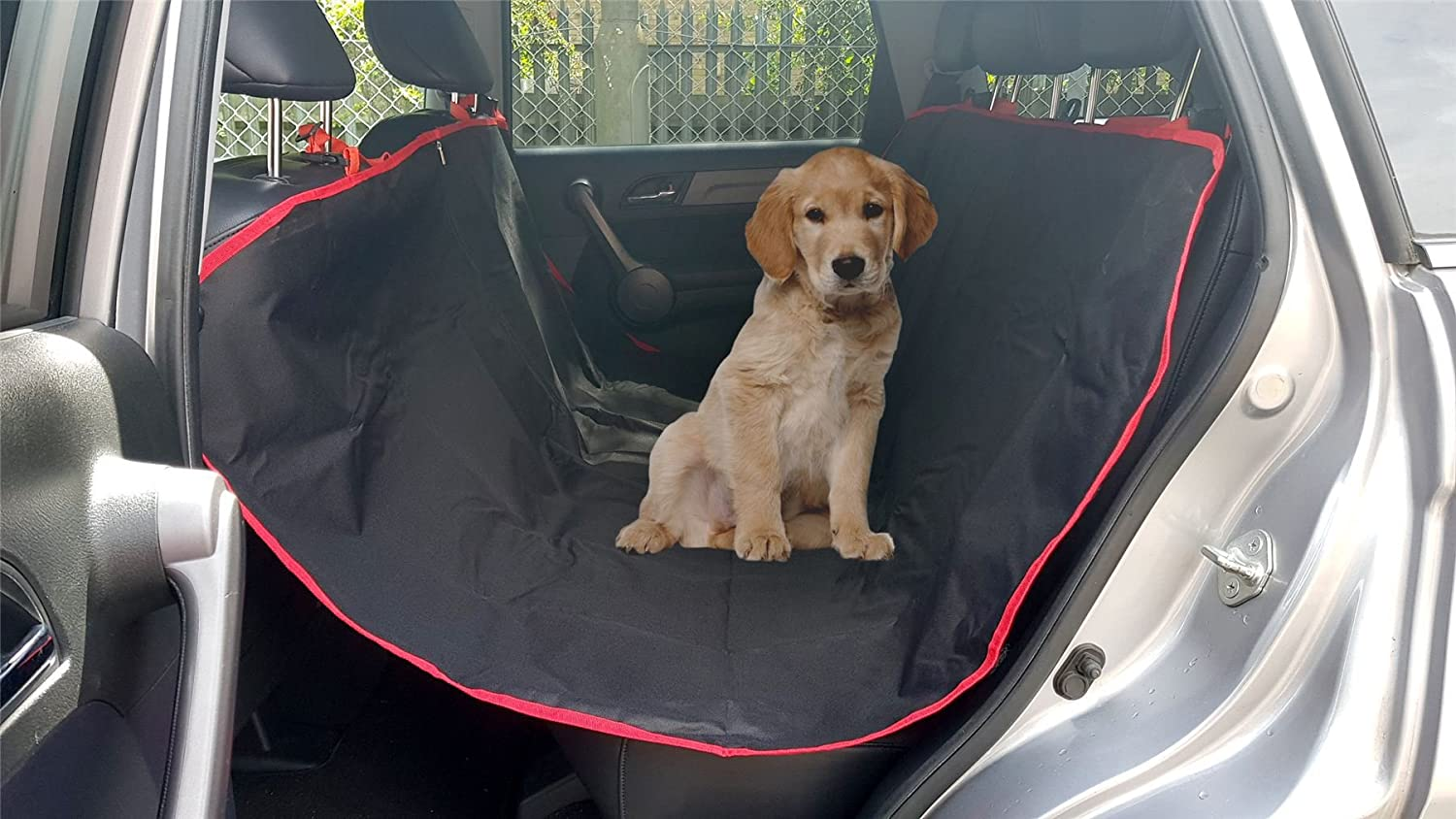 VOCHE BLACK RED 2in1 WATERPROOF CAR REAR BACK SEAT COVER PET PROTECTOR BOOT MAT