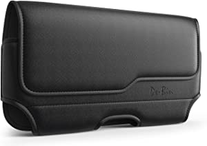 Debin Horizontal iPhone 5 5c 5s SE Holster Leather Case Pouch Belt Clip Holster with Belt Loops for iPhone (Fits iPhone SE 5 5c 5s with otterbox case / lifeproof case on)