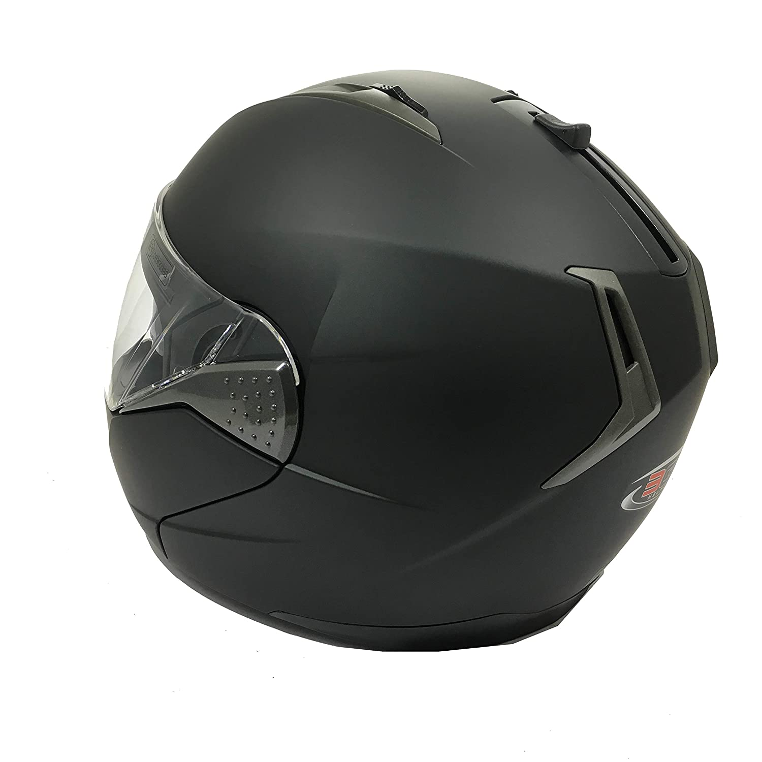 3GO-E335 Moto Integral Modular Urban DOUBCASQUE MODULABLE 3GO-E335 Moto FUL Face Double VISI/ÈRE Touring Cruiser Sports Flip-UP ECE Homologue Casque Noir Mat 59-60 CM L