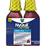 Vicks Nyquil SEVERE Cold & Flu Nighttime Relief Liquid, Alcohol Free Berry Liquid, 2x12 Fl Oz