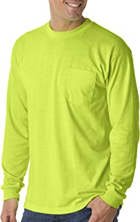 product image for Bayside Adult Long-Sleeve Pocket Tee 1730-Lime Green