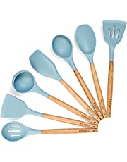 IQUONA Kitchen Utensil Set - 7 Piece Natural Acacia Wood and Silicone Spatulas - Heat Resistant - Organic Wooden Handle Spatula and Spoon - Nonstick Kitchen Tools Gadgets - French Cooking Utensils